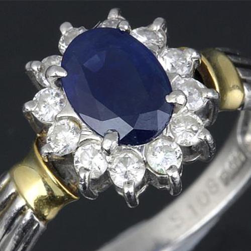 ブルーサファイヤ ダイヤ S1.08ct D0.3ct リング K18YG×Pt900