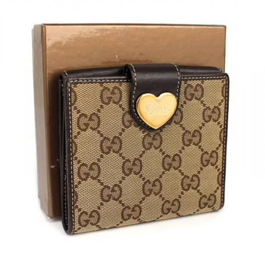 グッチ Wホック-二つ折り財布-ハート-GG柄-ブラウン-茶