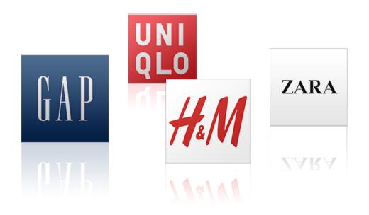 ファストファッションイメージ(UNIQLO、GAP,、H&M、ZARA)