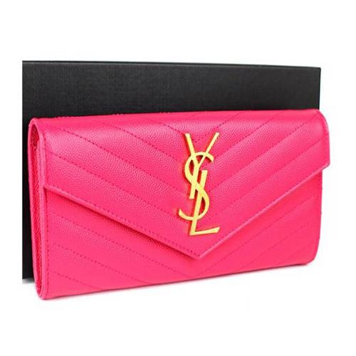 イヴサンローラン パリ ラウンドジップ 二つ折り財布 ピンク