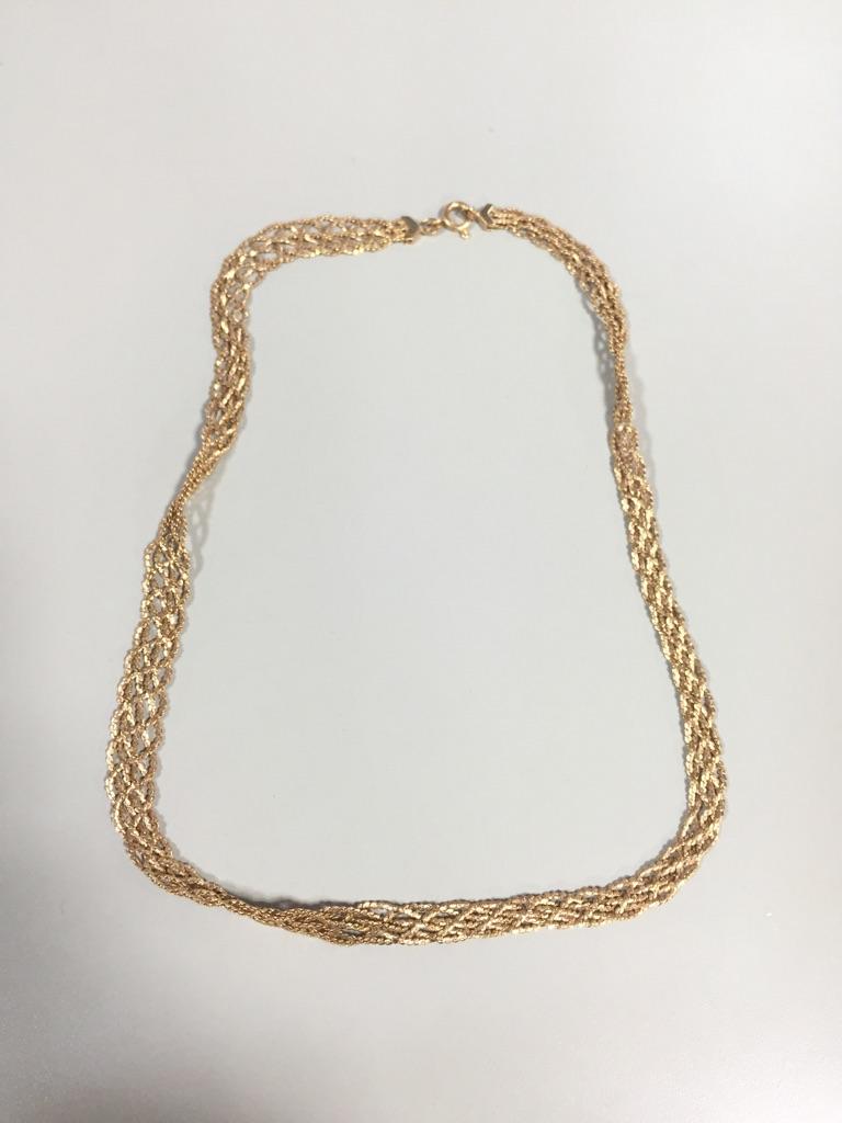 18金ネックレス 編み込み 45cm