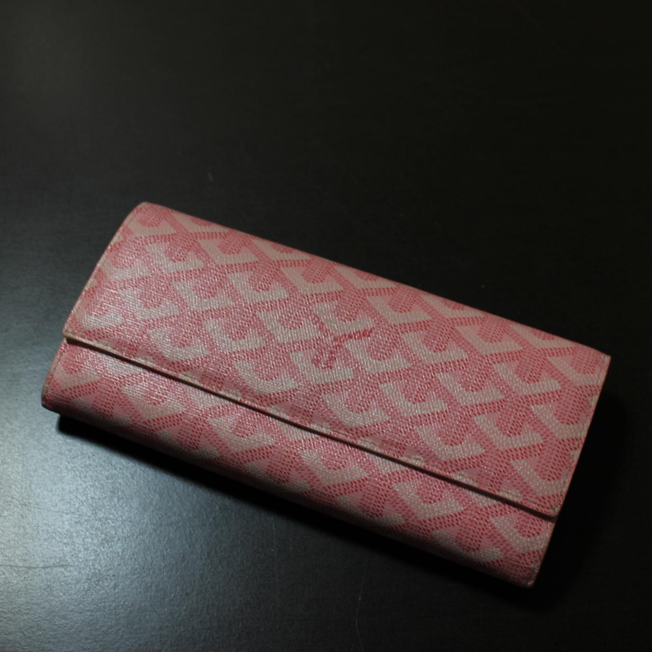 ゴヤール 長財布 ヘリンボーン柄 ピンク