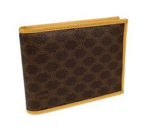 セリーヌ コンパクト 二つ折り財布 レザー ブラウン
