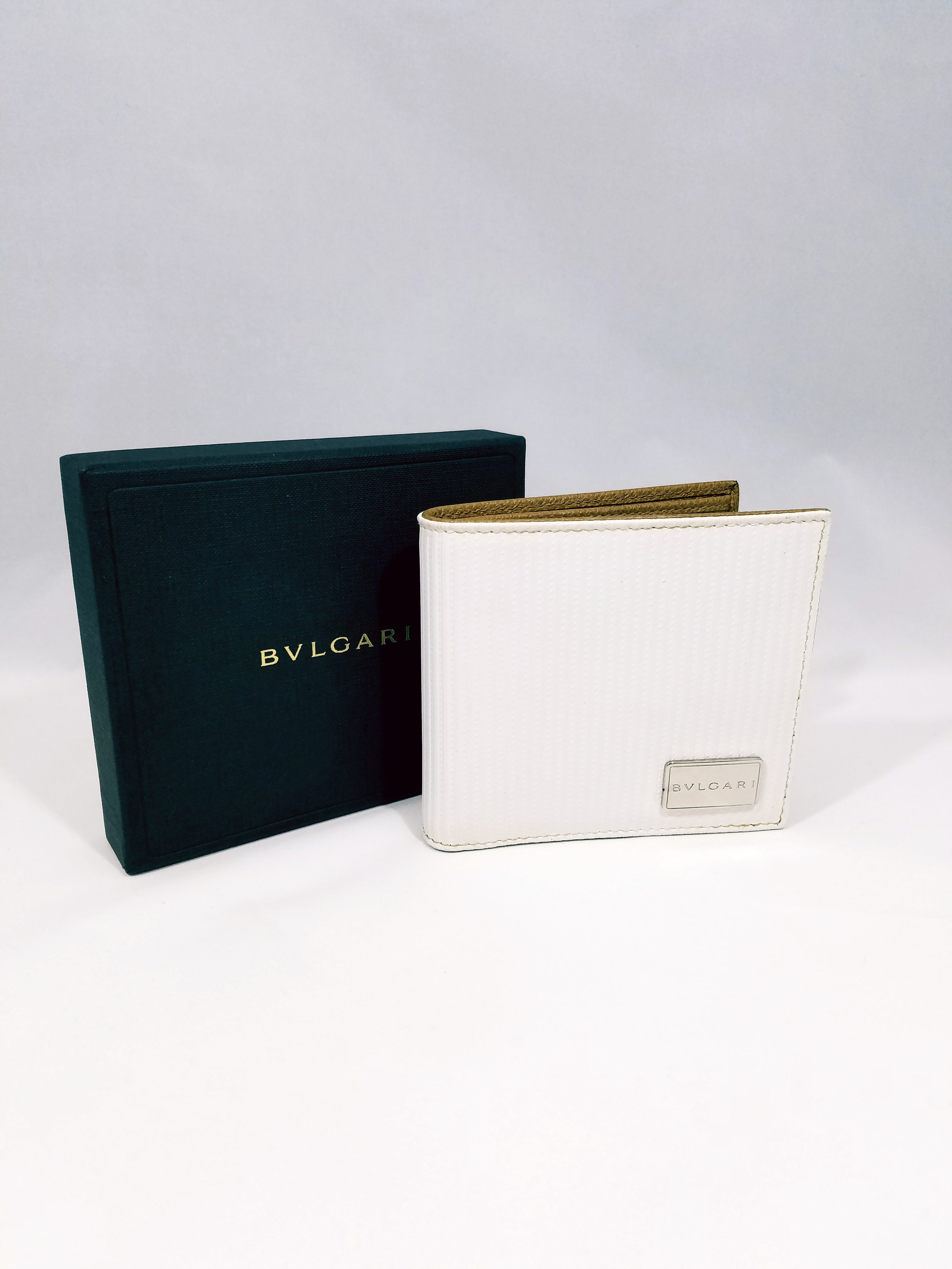 ブルガリ ミレリゲ メンズ財布 ダスティーホワイト カーフレザー