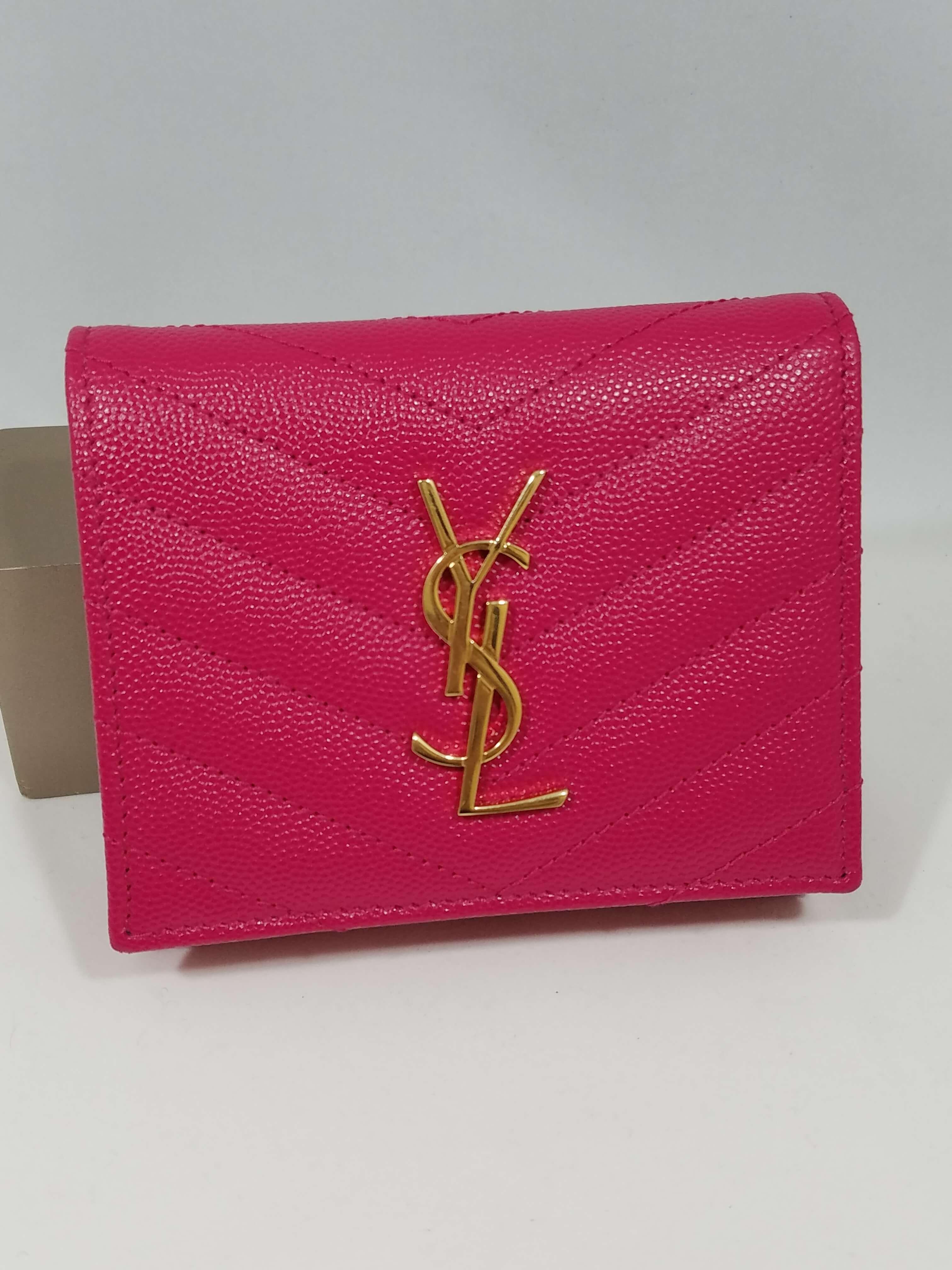 YSL 三つ折り財布 モノグラム ピンク