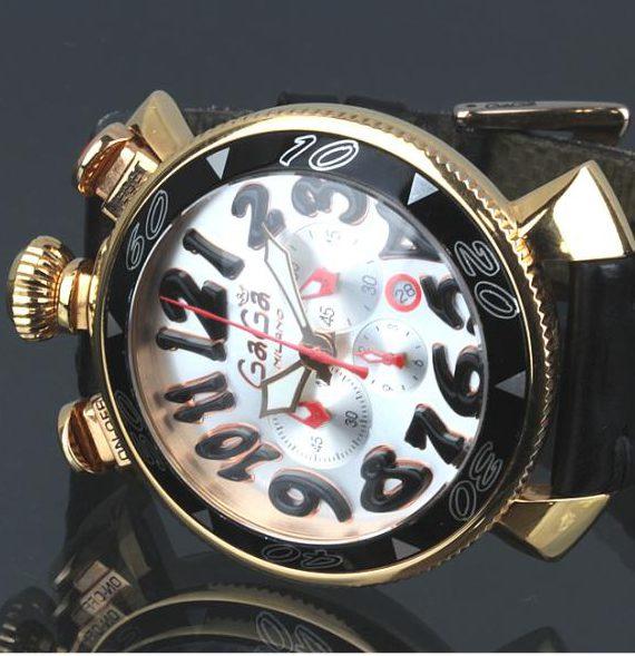 ガガ・ミラノ クロノグラフ 6056.6 48MM レザーベルト メンズ 腕時計