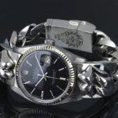 クロムハーツ ロレックス リップ&タン デイトジャスト ウォッチブレス 黒文字盤 ローリングストーンズ 腕時計