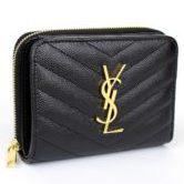 サンローラン パリ 二つ折り コンパクトジップ 財布 レザー 黒