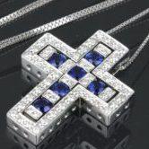 ダミアーニ ベルエポック クロス ネックレス K18WG サファイヤ ダイヤ