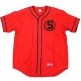 シュプリーム ワッペン ベースボールシャツ 半袖 赤 sizeM