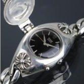 クロムハーツ ロレックス ミディアムサイズ 蓋付き スモールクリップ ウォッチケース CHX 明細付き 黒文字盤 腕時計