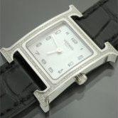 HERMES エルメス Hウォッチ HH1.235 ダイヤ ホワイトシェル アリゲーターベルト 黒 C刻印 腕時計