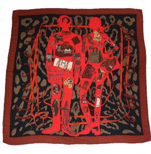 カレ140 ジェアン 大判スカーフ ショール カシミア65 シルク35 アイテム柄 赤 黒 茶系